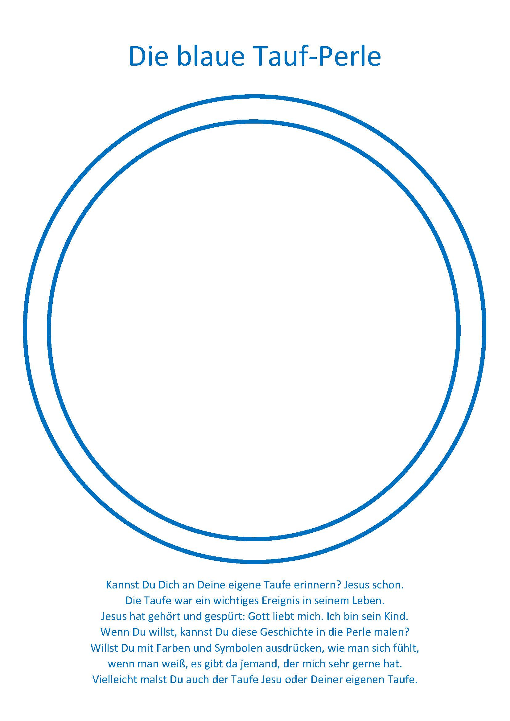 2 Blaue Tauf-Perle - Malvorlage - Aktions-Seite Seelsorge in Kitas